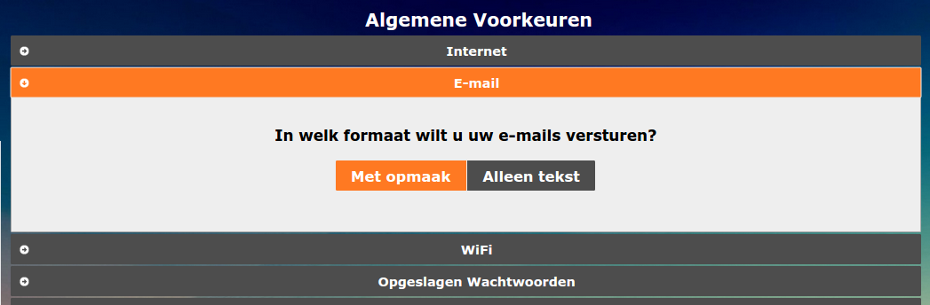 email-opmaak-instelling