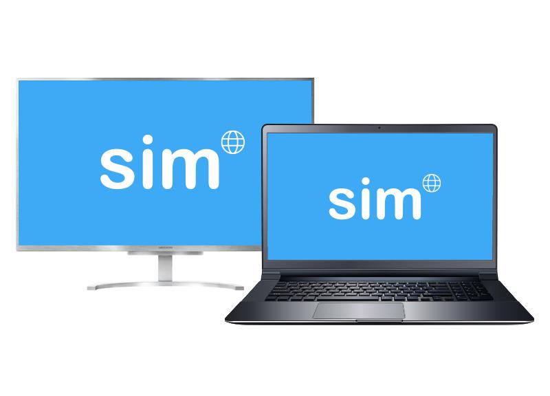 Sim desktops en laptops